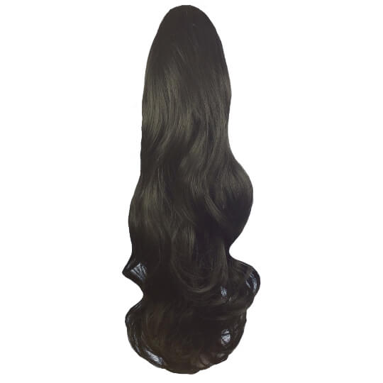 synthetic clip in ponytail black